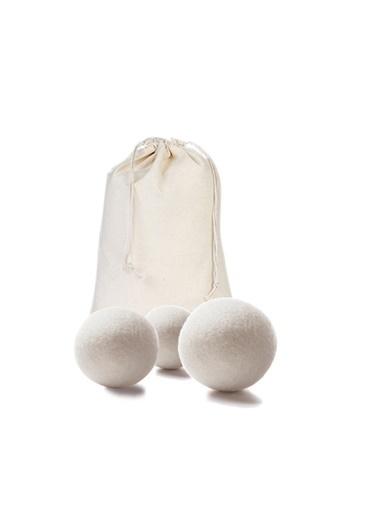 home-bath Çamaşır Kurutma Topu 3'lü Bez Kesede Krem